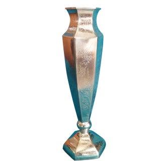 Inscribed Tall Silver Pedestal Vase