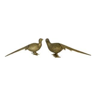 Vintage Brass Pheasant Figures - A Pair
