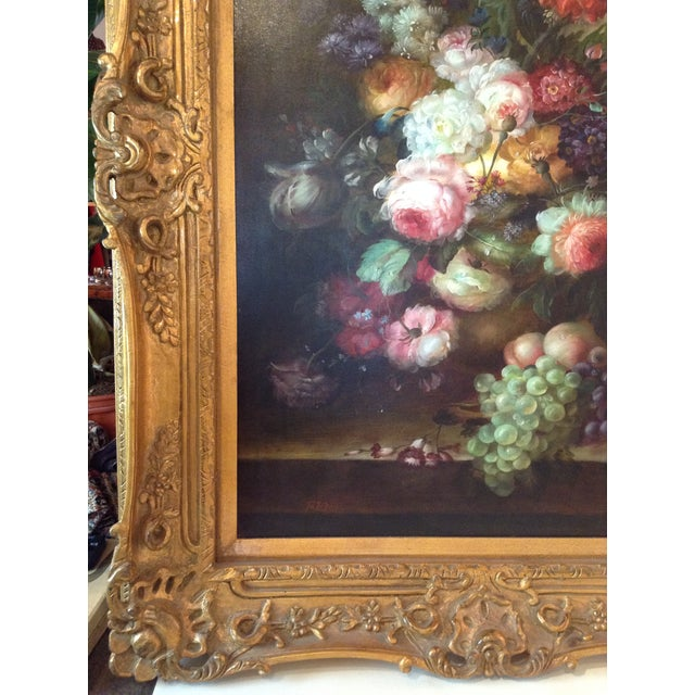 Large Floral Oil Painting in Ornate Gilded Frame - Image 4 of 10