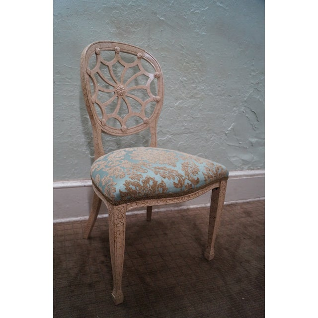 Faux Painted Spider Back Dining Chairs - Set of 6 - Image 9 of 10
