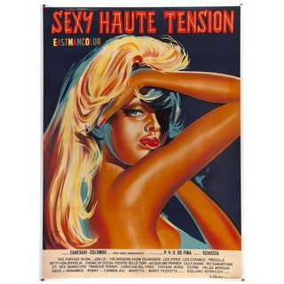 """Vintage 1964 French """"Sexy Haute Tension"""" Lithographic Film Poster"""