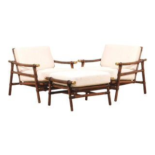Superb Pair of Campaign Lounge Chairs and Ottomans by Wisner for Ficks Reed