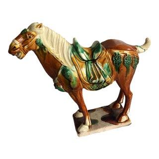 Majolica War Horse Pottery Figurine