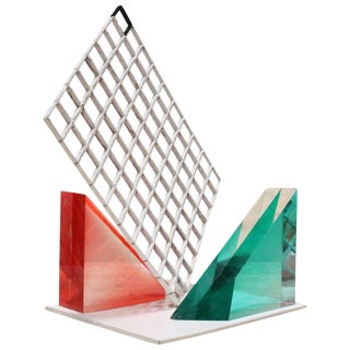 Unusual 1980s Lucite Block and Metal Grid Sculpture