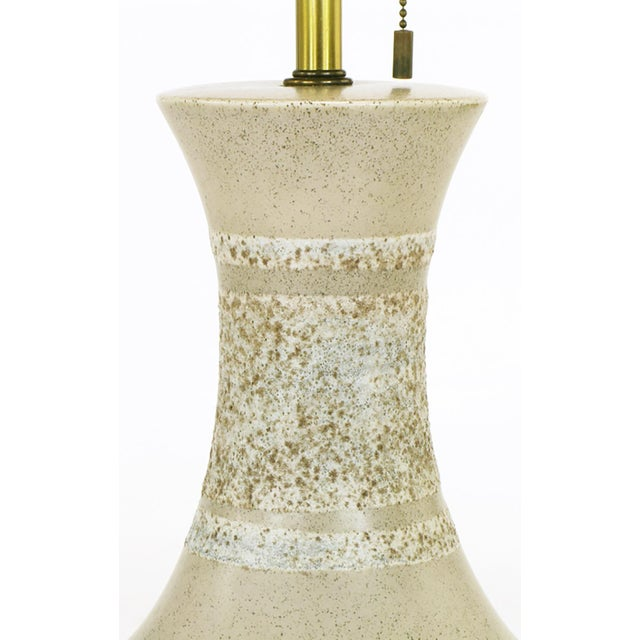 Image of Lightolier Soft Green Heathered and Striped Pottery Table Lamp