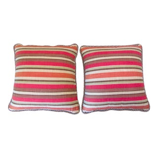 "Large 20""Square Striped Linen Pillows - Pair"