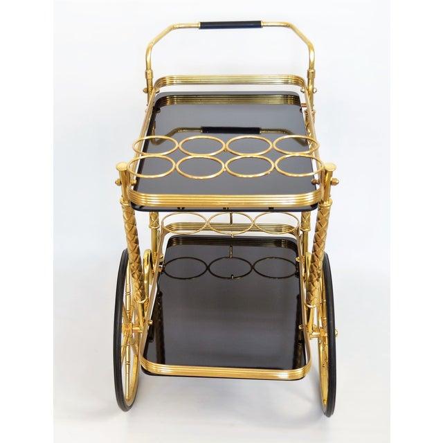 Vintage Italian Brass And Black Glass Bar Tea Cart Mid