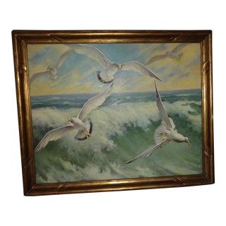 Vintage Seagulls Oil Painting on Canvas
