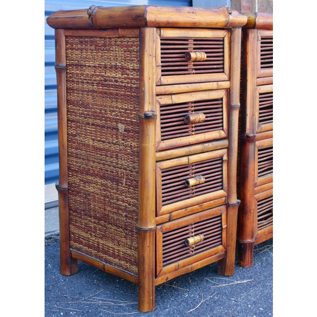 Bamboo Wicker Chests of Drawers / Nightstands - a Pair - Image 8 of 8
