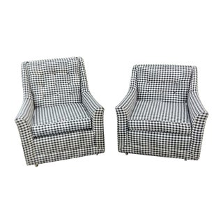 Kroehler Mid-Century Houndstooth Chairs - A Pair