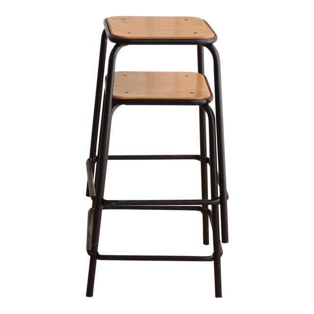Vintage French Schoolhouse Stool - A Pair - Image 1 of 4