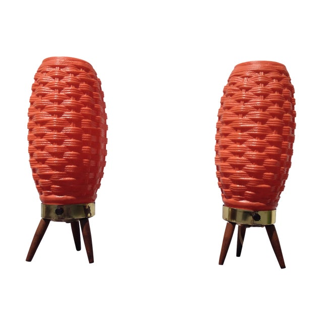 Mid-Century Modern Orange Beehive Lamps - A Pair - Image 1 of 7