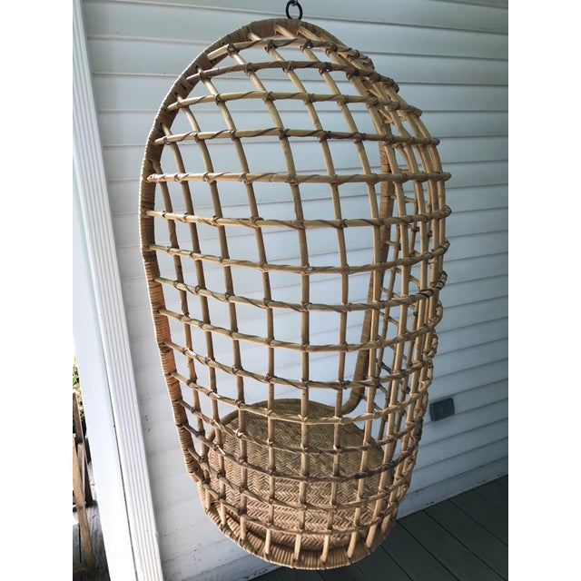 Vintage Hanging Rattan Egg Chair - Image 4 of 7