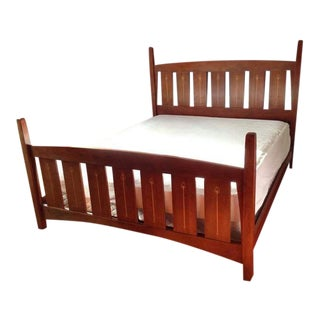 Carved Maple Slatted Queen Size Bed