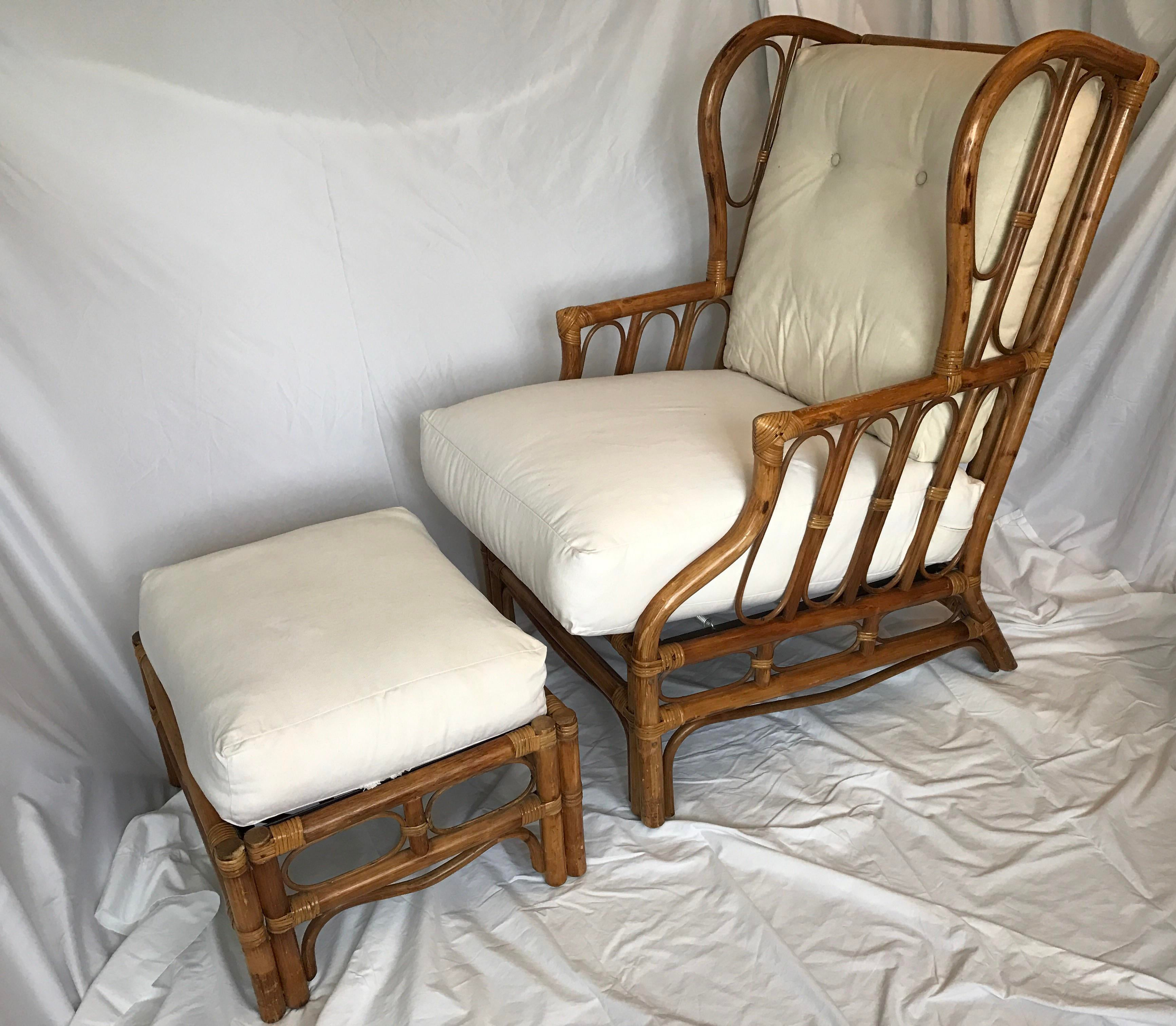 Vintage Rattan Wingback Chair U0026 Ottoman   A Pair   Image 2 Of 11