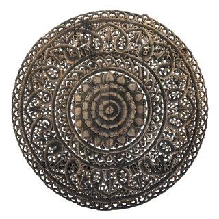 """Antique Burn Carved Medallion Panel 72"""""""