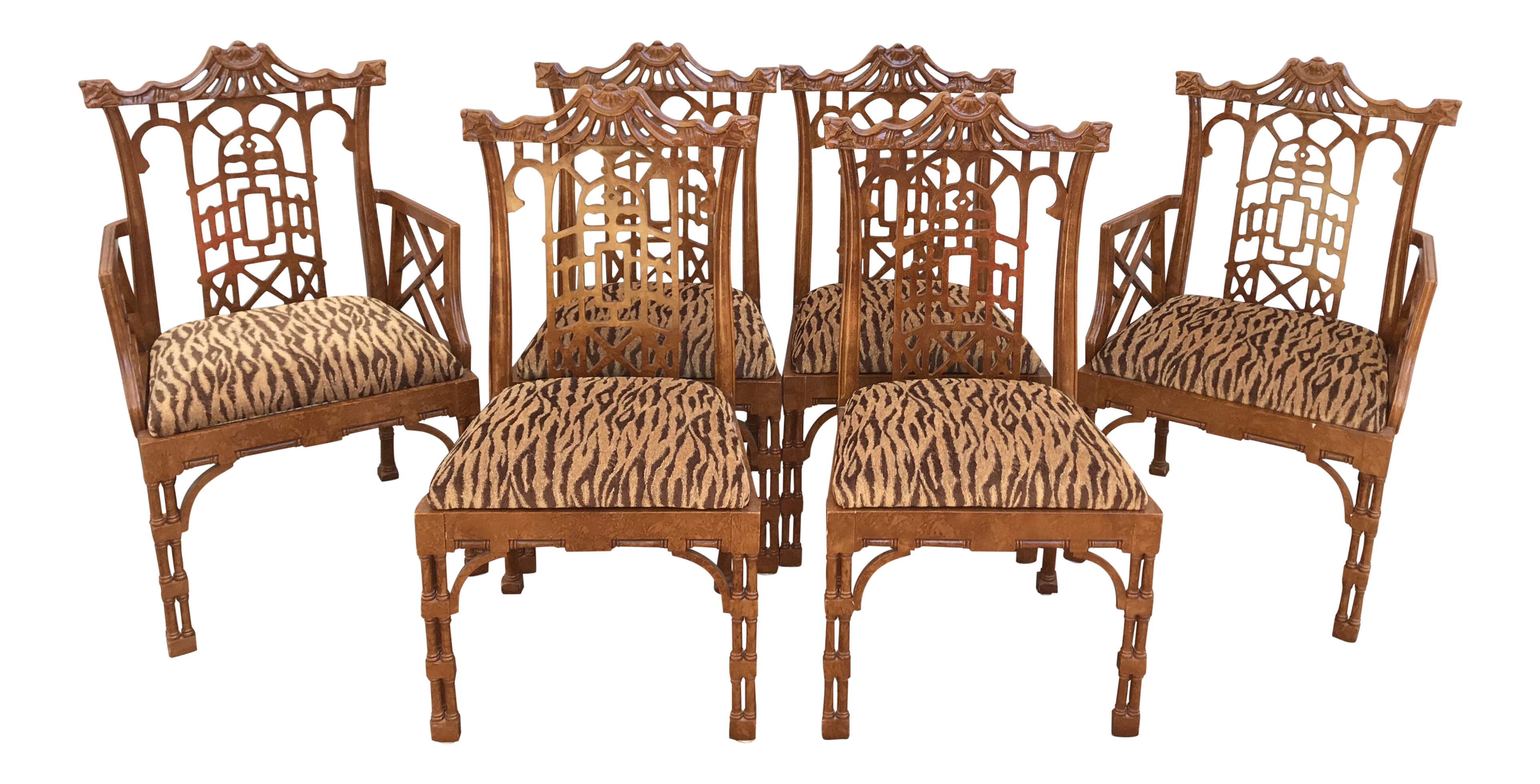 Pagoda Chinese Chippendale Style Dining Chairs With Fret Work   Set Of 6 Part 98
