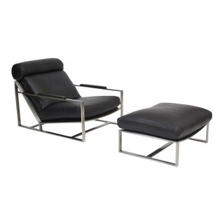 Milo Baughman for Thayer Coggin Steel Lounge Chair in Black Leather