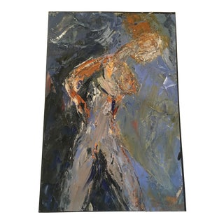 Figure in Blue Oil on Paper by Jj Justice