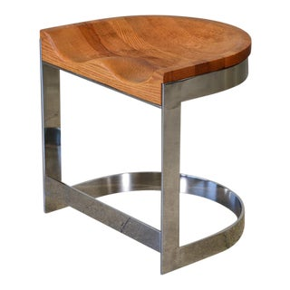 Warren Bacon Oak & Chrome Stool