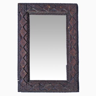 Vintage Diamond Tramp Art Mirror