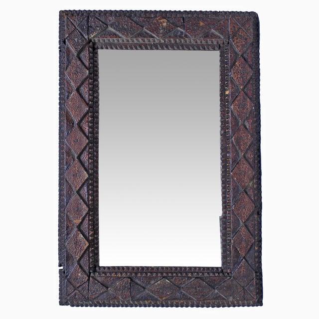 Image of Vintage Diamond Tramp Art Mirror