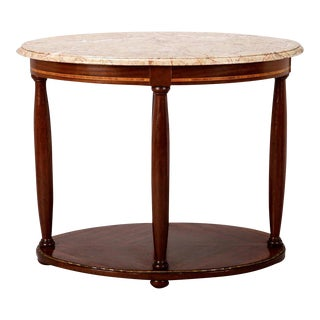 French Directoire Oval Center Table with Rouge Marble Top