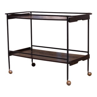 Mid Century Metal and Wood Bar Cart