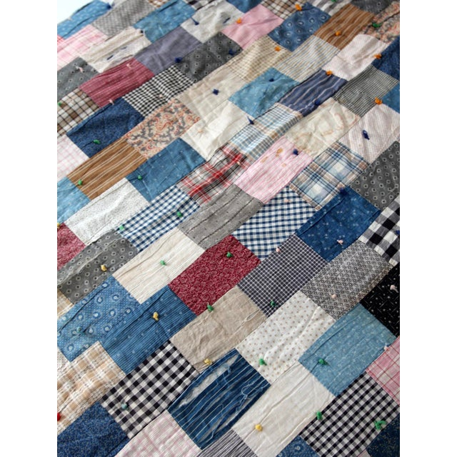 Vintage Hand-Tied Patchwork Quilt - Image 5 of 10