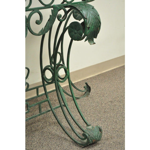 Italian Regency Style Green Wrought Iron Marble Top Console Table - Image 6 of 11