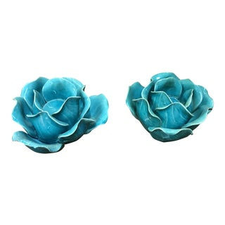 Ceramic Blue Rose Candle Holders - A Pair