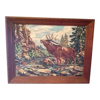 Vintage Rustic Wood-Framed Moose Painting