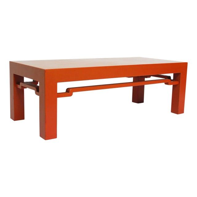 Modern orange chinese ming style coffee table chairish for Orange coffee table