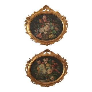 Italian Oval Still Life Paintings - a Pair