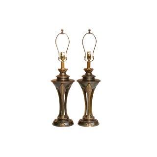 Art Deco Brass Lamps - a Pair