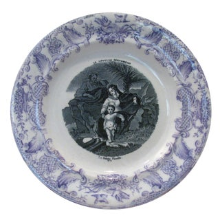Antique French Gien Purple / Mulberry Holy Family Plate, C. 1875