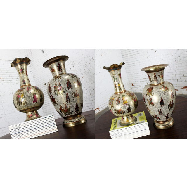 Persian Etched & Enameled Cast Brass Vases - A Pair - Image 8 of 10