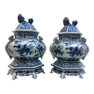 Blue & White Chinese Lidded Pedestal Ginger Jars - A Pair