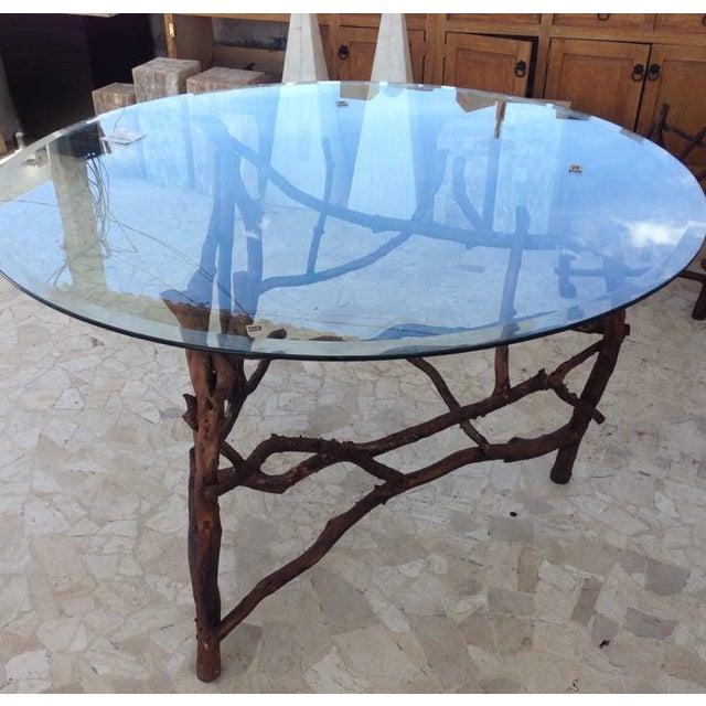 Rift Wood and Glass Round Dining Table - Image 4 of 5