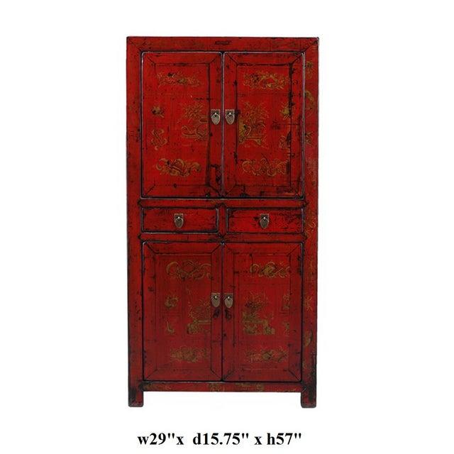 Vintage Oriental Red Graphic Storage Dresser Cabin - Image 5 of 5
