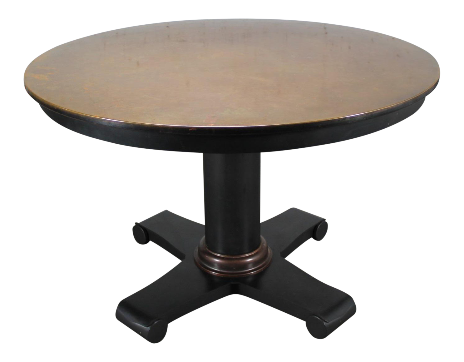 Contemporary Round Copper Top Dining Table Chairish : 9b691672 dc16 461f 8cbe e66b26a77d01aspectfitampwidth640ampheight640 from www.chairish.com size 640 x 640 jpeg 23kB