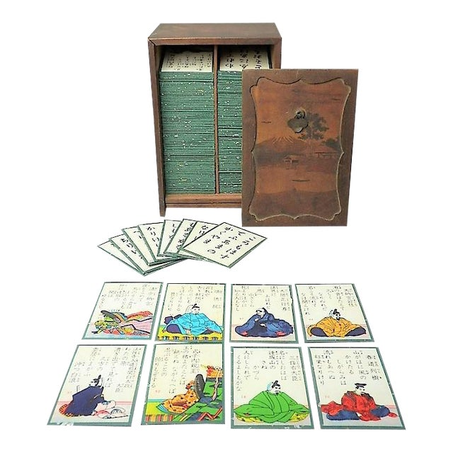 Japanese Card Game Set in Wood Box Hand Painted Calligraphy Poem Vintage Antique - Image 1 of 11