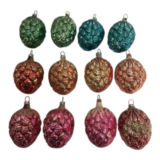 Vintage Christmas Pine Cone Ornaments - Set of 12