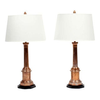 Pair of Custom Copper Lamps