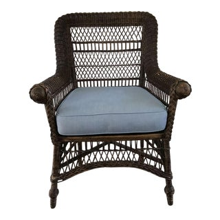 Vintage Maine Wicker Chair With Ball Feet Detail