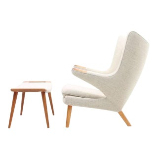 Light Gray / Cream Papa Bear Chair Ap19 by Hans Wegner for A.P. Stolen, 1960