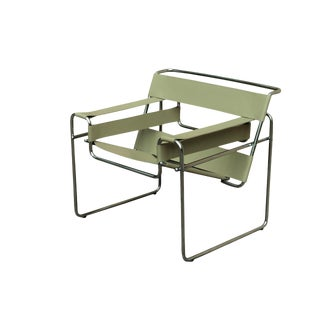 Wassily Style Leather Sling Chair in Light Sage