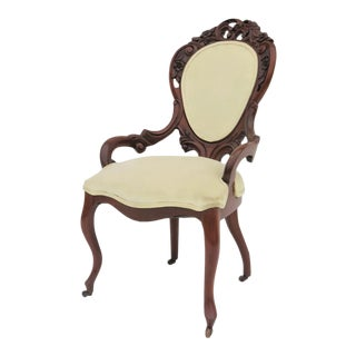 Victorian Rose Caved Mahogany Slipper Chair