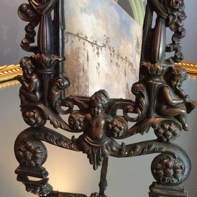 Antique Cast Iron Cherub Mirror - Image 4 of 11