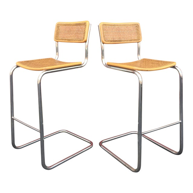 Mid-Century Cane Cesca Bar Stools With Chrome by Marcel Breuer - A Pair - Image 1 of 8